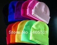 Women cuff Beanie Knit Ski Cap Hip-Hop Blank solid neon Color Winter Warm Unisex Wool Hat