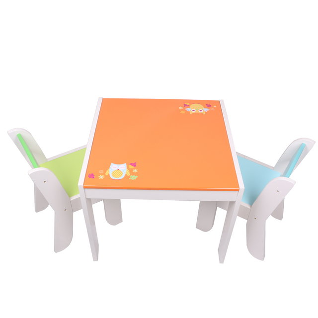 Children Table Set With 2 Chairs Cute Owl Wooden Square Desk Study Dinner Reading  Desk Kids