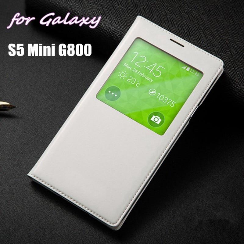 Smart View Shell Auto Sommeil Réveil Chiquenaude de Couverture de Batterie Logement cas Avec Puce Pour Samsung Galaxy S5 Mini G800 G800F G800H G800M