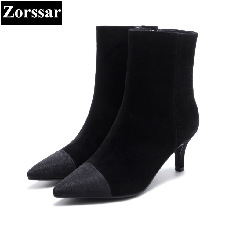 {Zorssar} 2018 NEW fashion women boots Kid Suede High heels womens ankle boots pointed toe high heeled shoes winter women shoes zorssar brands 2018 new arrival fashion women shoes thick heel zipper ankle chelsea boots square toe high heels womens boots