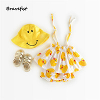 The Explosion Of Infant Baby Girls Summer Suit Cute Little Yellow Duck Tape Baby Girl Clothes