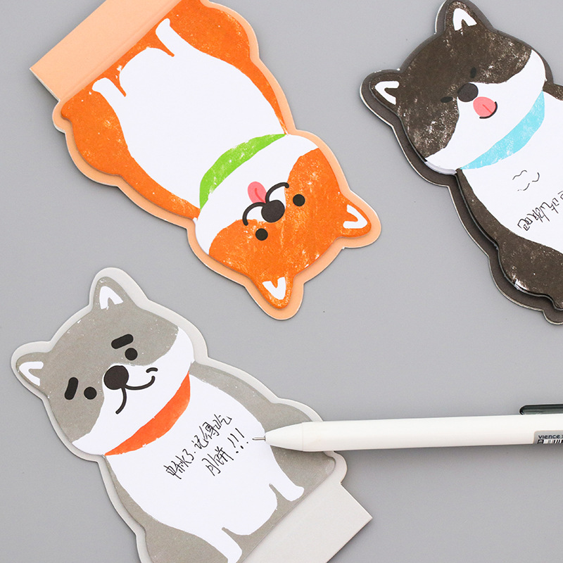 купить cartoon Japanese Akita Dog memo pad fat cat sticky note paper sticker kawaii stationery pepalaria office school supplies по цене 59.84 рублей