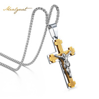 Meaeguet Men S Jewelry Stainless Steel Antique Jesus Cross Crucifix Pendant Necklace For Men 24 Inch