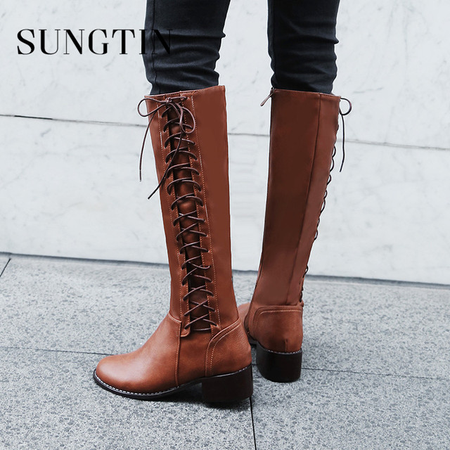 e4a4e5ea9ba Sungtin Fashion Lace Up Knee-High Boots Women Classic Cross-Tied Riding Boots  Female Square Heel Punk Boots Autumn Winter Shoes