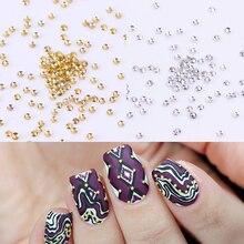 цены 100Pcs 3D Nail Art Studs Rhinestones Mini Beads Gold Silver Decoration UV Gel DIY Nail Decoration Nail Art Accessories Tool