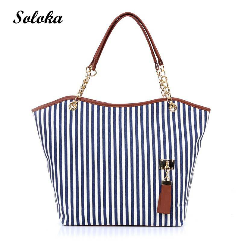 Fashion Girls Ladies Street Tassel Women Bags Casual Vertical Striped Canvas Tote Shoulder Bag Large Capacity Handbags 2017 New