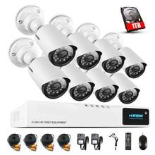 Hview 8CH CCTV Surveillance System1080P AHD DVR 8 PCS Caméras de VIDÉOSURVEILLANCE 1.0 Mégapixels Enhanced IR de Système de Caméra de Sécurité avec 1 TB HDD