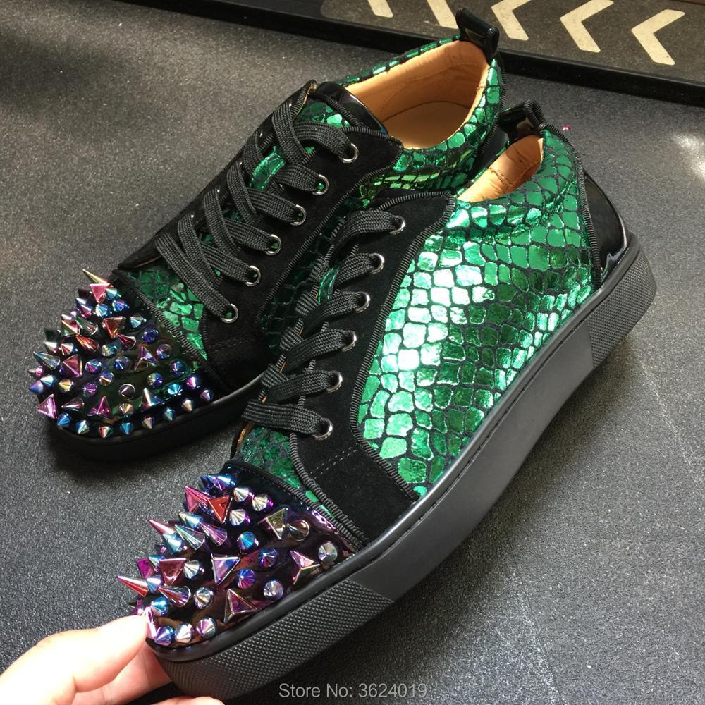 Low Homens Rebites De cut Multicolor Dos Fundo 2018 Textura Cl Couro Sapatos Lace Sapatilhas up Casuais Desarrumado Cobra Verde Andgz Vermelho FnfXFOr