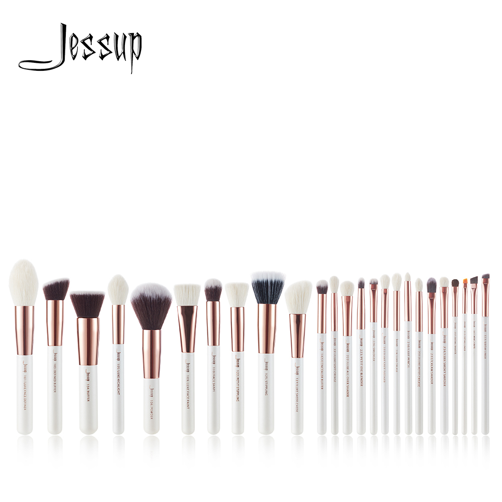 Jessup Perle Weiß/Rose Gold Berufs Make-Up Pinsel pinsel Make-up Pinsel Tools kit Foundation set Powder Blushes Schönheit