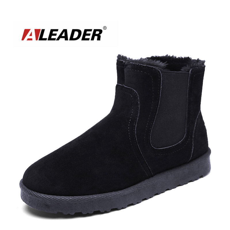 ALEADER Winter Snow Boots Men Suede Chelsea Design Boots Outdoor Snow Walking Shoes For Male Slip On Casual Warm Ankle Boots UG