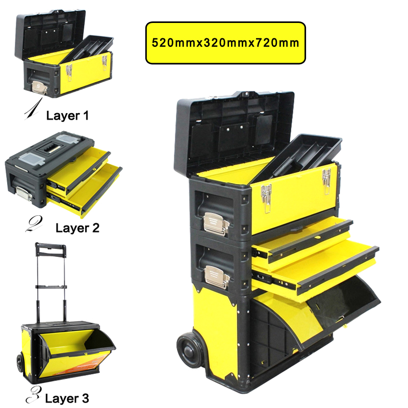 BOSI 3 In 1 Trolley Tools Box Made Of Cold-roll Steel Sheets+ABS