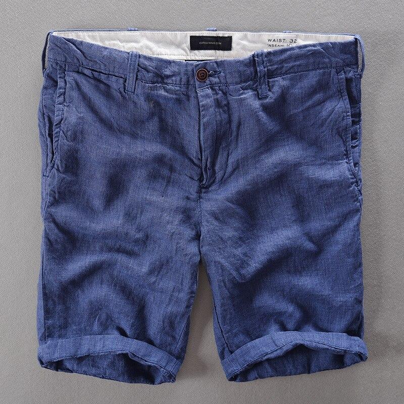 100% Linen Shorts Men Summer Short Pants 5