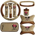 10 pcs / set auto interior ornaments Mickey Mouse pattern car headrest wheel belt visor gear set CD handbrake interior products