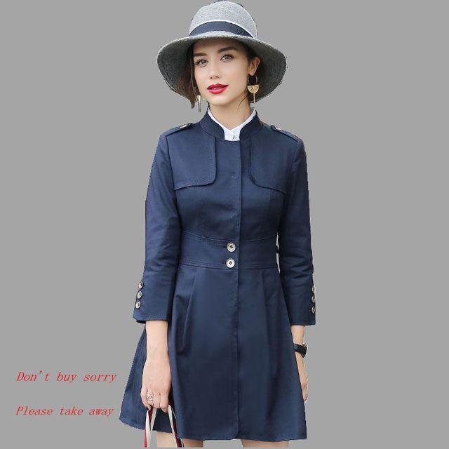 Британский стиль Осень Новая Мода Женщин Траншеи Элегантный Стоять воротник Средней Длины Пальто Высокого качества Тонкий Пальто Больших ярдов NZ193