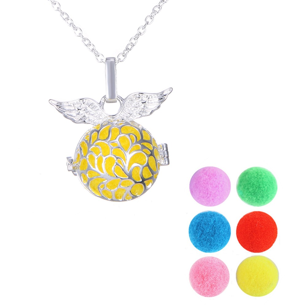 Float Locket Perfume Necklace Hallow Out Silver Bola Wing Shaped can Open + 6PCS Ball Unisex Summer Perfume Necklace