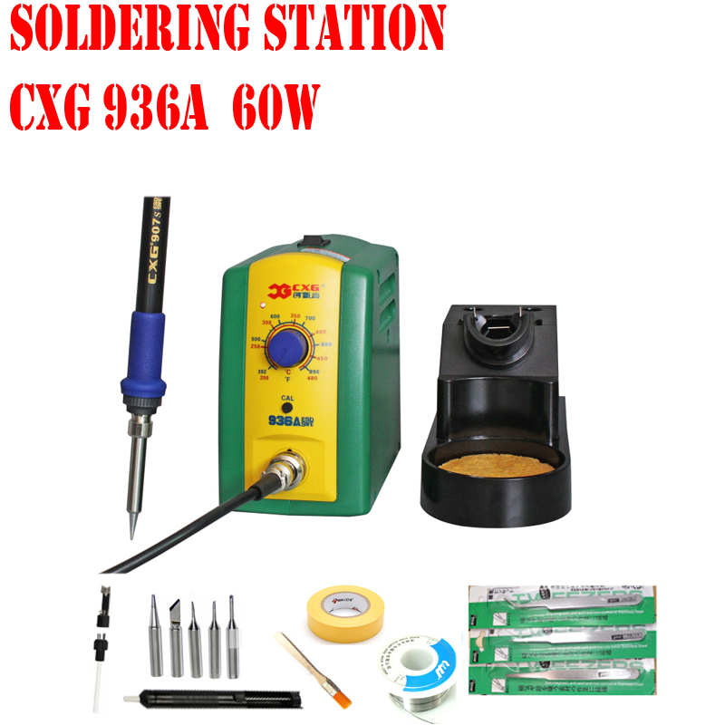 free shipping high quality soldering station cxg 936 220v 60w ceramic heater better than hakko. Black Bedroom Furniture Sets. Home Design Ideas