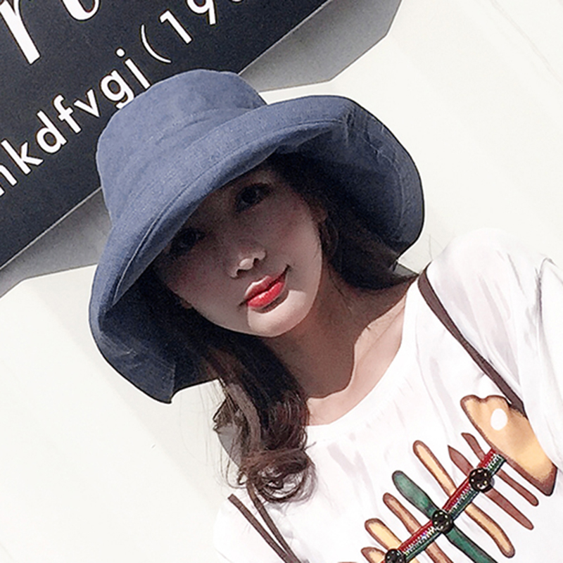 ZJBECHAHMU New Casual Vintage Solid Polyester Sun Hat For Women Girl Summer Outdoor beach hat foldable bucket large Cap