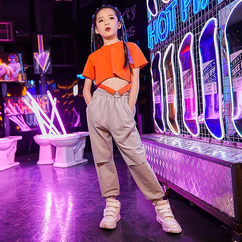 clothes hip hop dance girl street neon girls harem pants crop tops jazz kids costumes