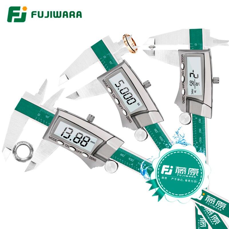 FUJIWARA Pantalla Digital Caliper 0-150 MM de Acero Inoxidable 1/64 Fracción/Pulgadas/IP54 Alta precisión de Milímetros 0.01 MM
