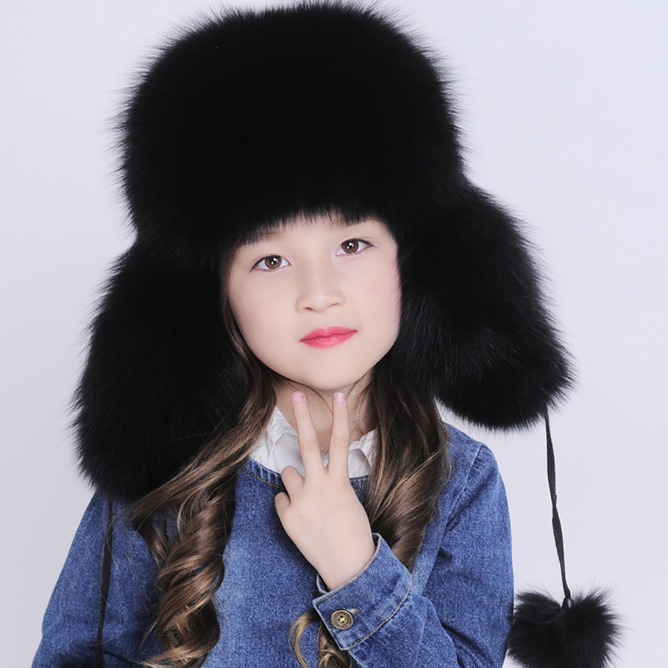 ФОТО Baby Warm Real Fox Fur Hat Girls Boys Winter Ears Protector Leifeng Caps Kids Children Earflap Hats 2 Different Wear Ways