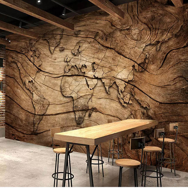 Custom 3D Wall Mural Wallpaper Retro Wood Grain World Map Wall Cloth Living  Room Sofa TV Background Wall Home Decor 3D Fresco