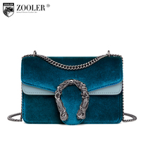 ZOOLER Ladies Cowhide Leather Messenger Bags Fashion Chain Bags For Women Crossbody Bag Serpentine Pattern B152