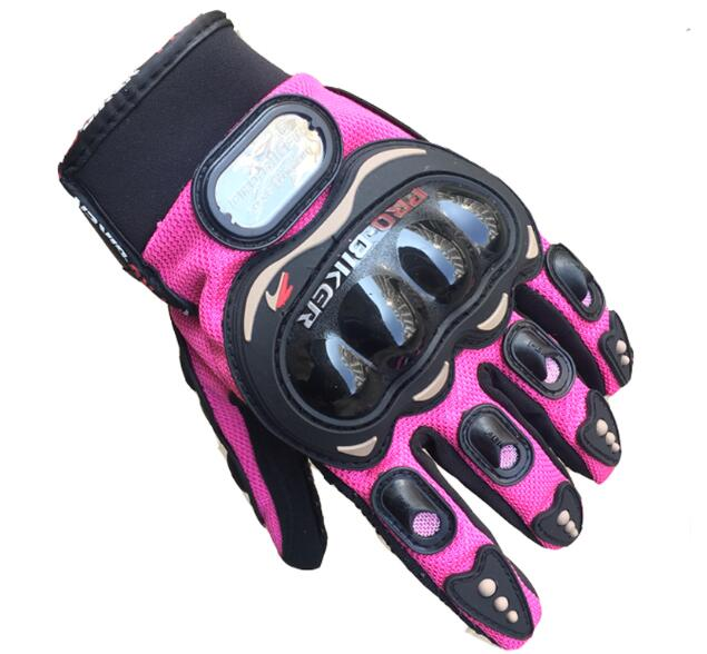 Pink Women Motorcycle Gloves Motocross Full Finger Riding Gloves Summer Brethable Luva Bicycle Cycling Pro Gloves