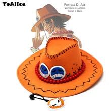Preços por atacado One Piece Portgas D Ace Cosplay Chapéu de Cowboy Chapéu Lembranças Brinquedos Piratas Tampas Com Ossos Do Crânio