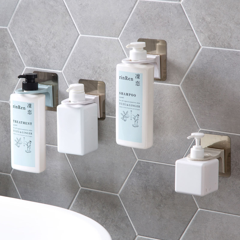 Wall Mounted Magic Sticky Shampoo Hook Shower Hand Soap Bottle .