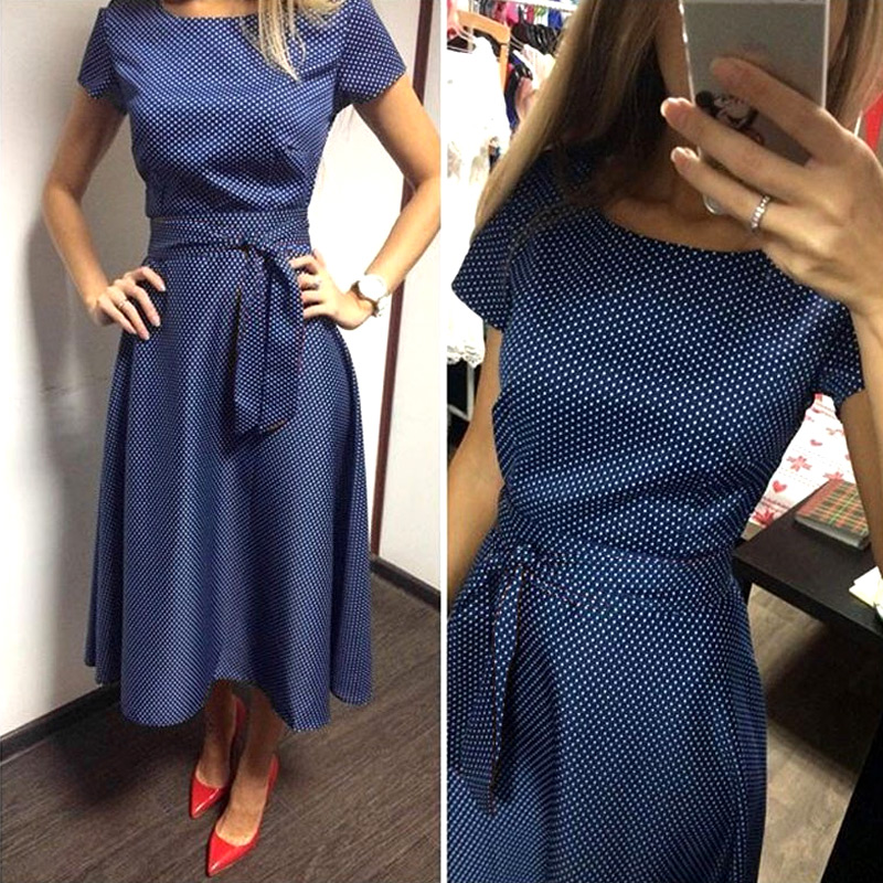 Womens Elegant Fashion Long Section A-Line Dress Slim blue o-neck dress For Evening Party