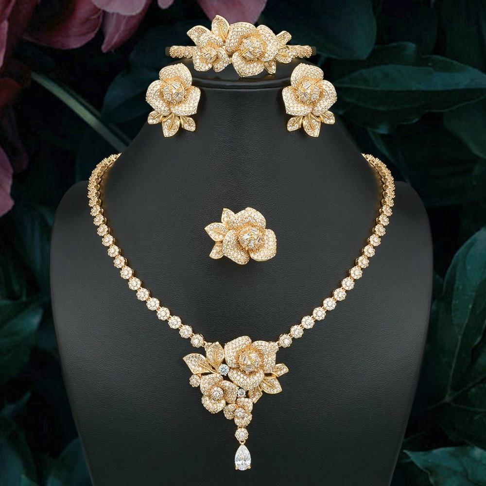 OdemAngel exquis fleur cubique zircone collier Bracelet boucle d'oreille bague ensemble or couleur bijoux pour les femmes