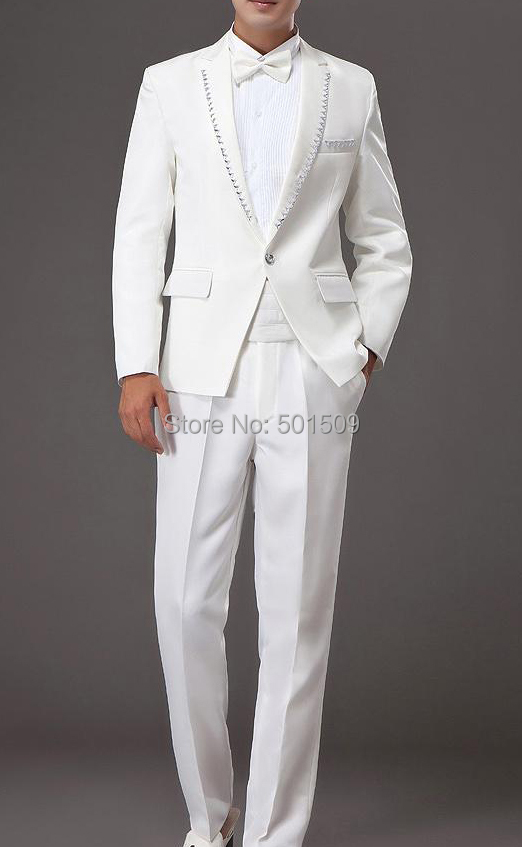 Free shipping mens rhinestone beading white tuxedo jacket and pants suits set stage performance/event suit