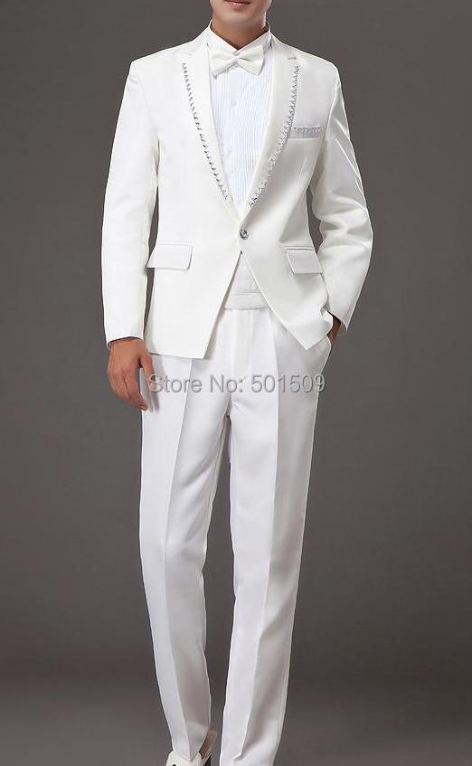 Free Shipping Mens Rhinestone Beading White Tuxedo Jacket
