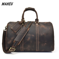MAHEU Fashion Crazy Horse Genuine Leather Men Travel Bag Large Capacity Cowhide Boston Bag Casual Travel Bags Hand Luggage