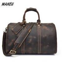 MAHEU Fashion Crazy Horse Genuine Leather Men Travel Bag Large Capacity Cowhide Boston Bag Casual Travel Bags Hand Luggage