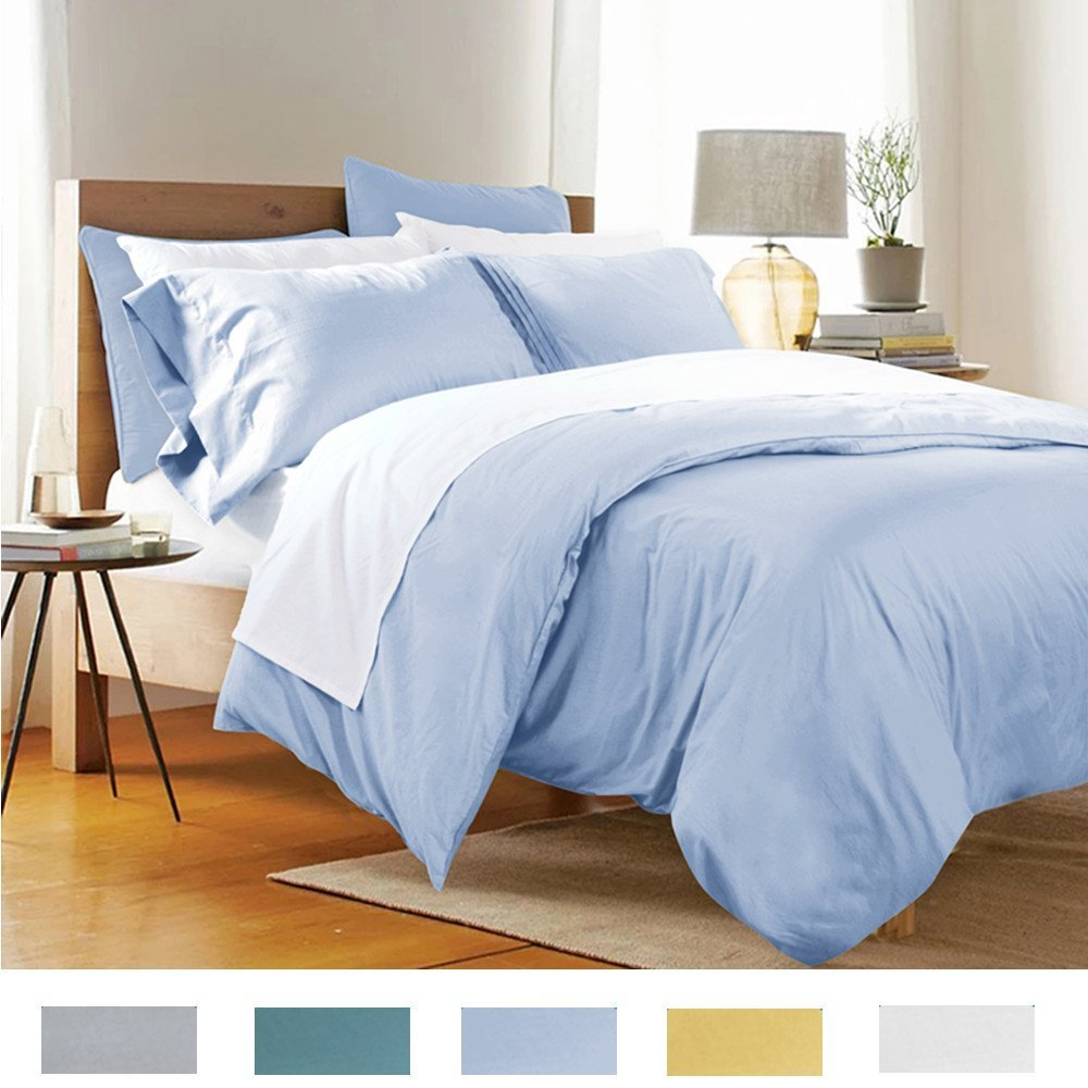Light blue bedding - Fadfay Home Textile Bedding Duvet Cover Set Twin Full Queen King Size 100 Cotton Bedding Bed Sets Light Blue Fade Bedroom Set