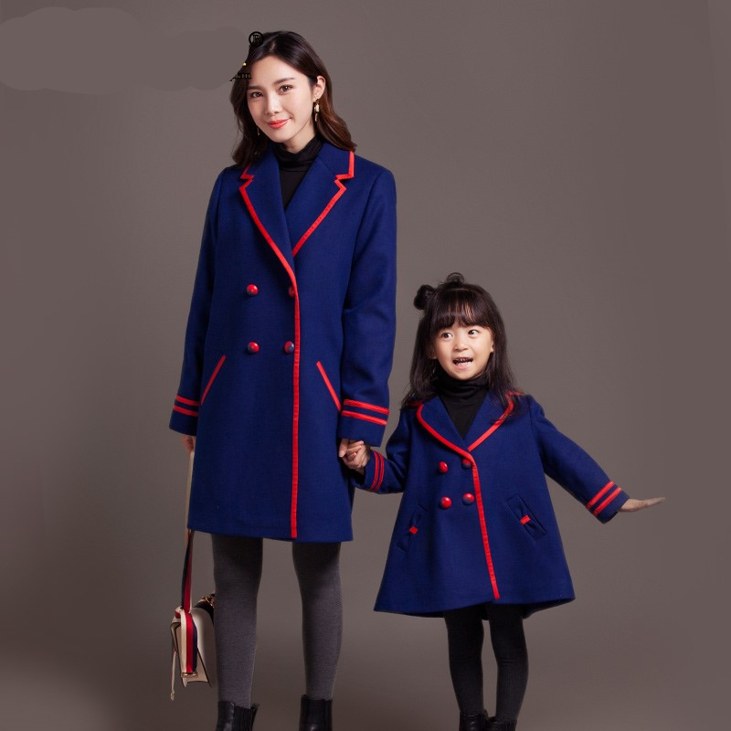 купить Maggie's Walker children mother autumn and winter wool coat family in the long woolen England style Single Breasted chic coat дешево