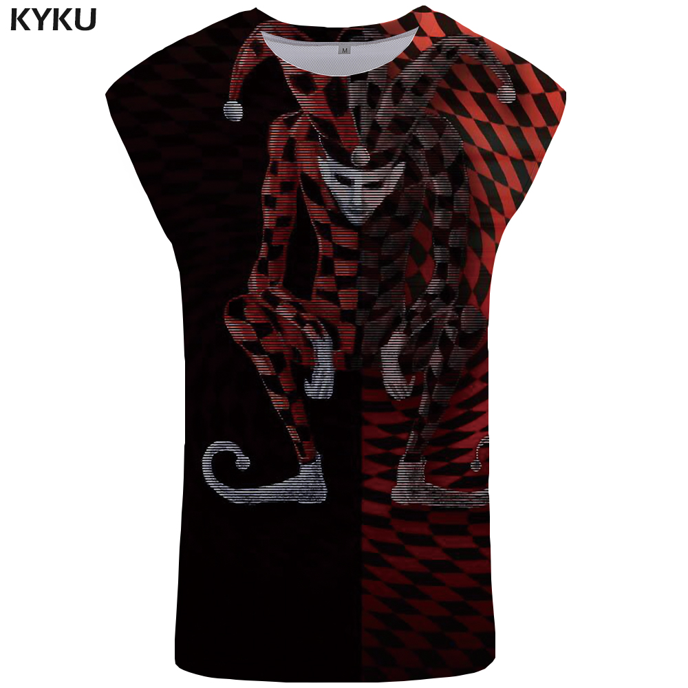 KYKU Brand Clown   Tank     Top   Men Black Mens Bodybuilding Undershirt Gothic Vest Vintage Singlet Stringer Sleeveless Shirt   Tops