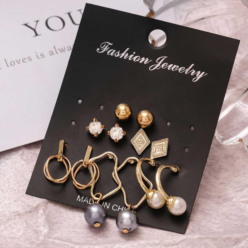 Conjunto de pendientes con tuerca y diseño geométrico Vintage de Color dorado para mujer, Piercing con forma de hoja redonda, pendiente de señora, joyería nueva