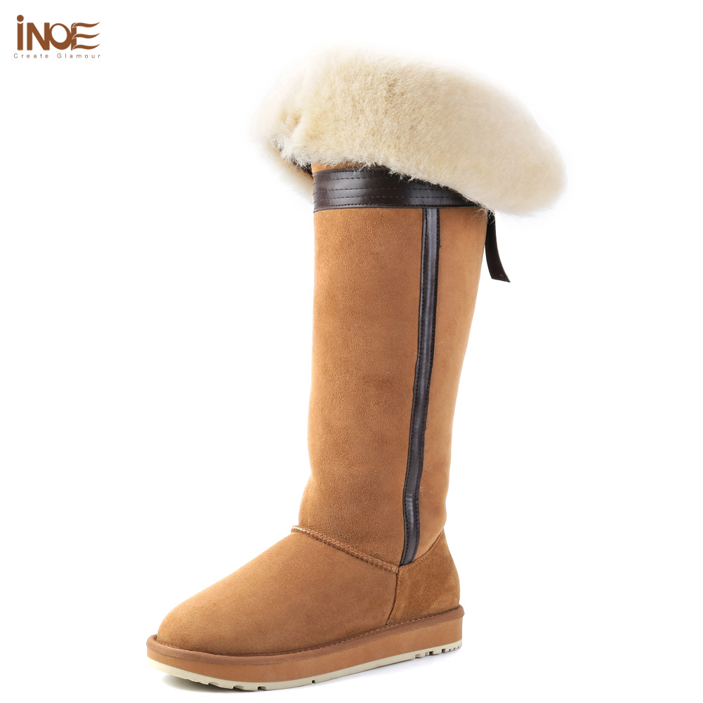 b7432bf3474c1 INOE over the knee sheepskin suede leather wool fur lined winter long high  snow boots for women bow-knot winter shoes flat 35-44