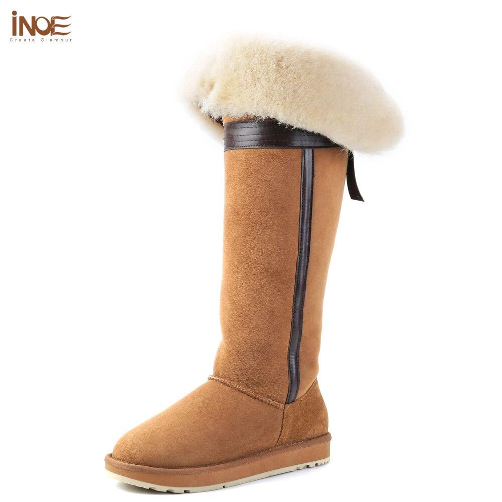 INOE sur le genou réel en peau de mouton en daim en cuir laine doublé de fourrure d'hiver long haute neige bottes pour femmes bowknot hiver chaussures 35-44