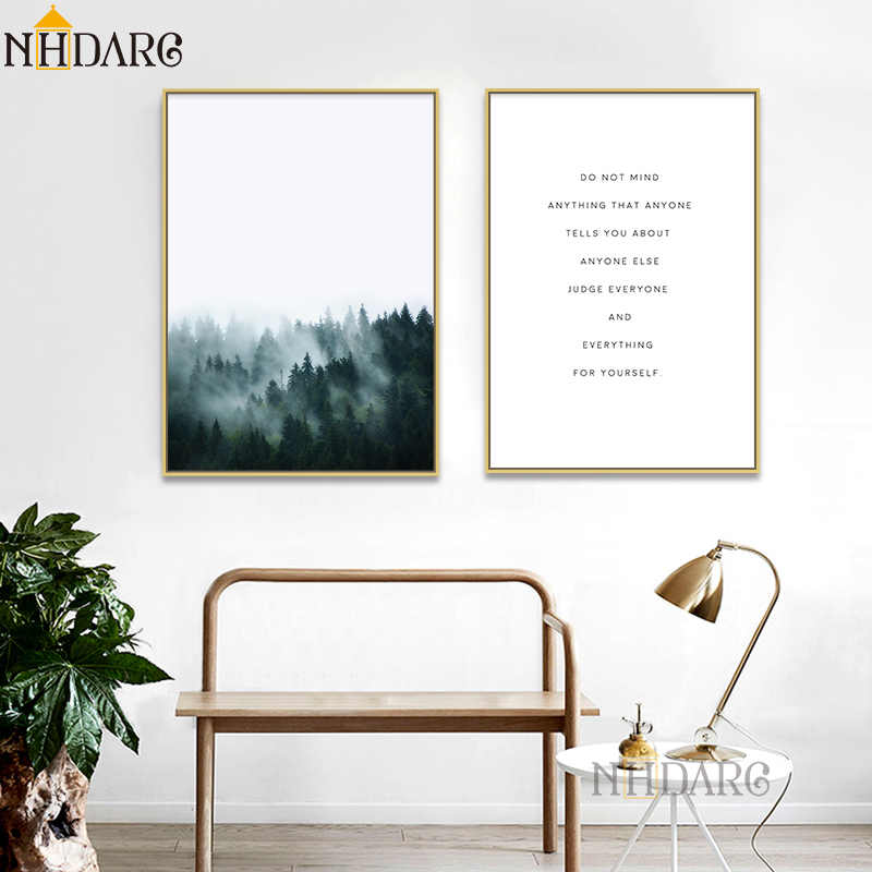 Posters And Prints Wall Art Canvas Painting Wall Pictures For Living Room Nordic Decoration Fog Forest Landscape Text Quote