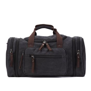 Men Duffel Bags Canvas Leather Travel Carry on Luggage Handbag Tote Large Weekend Bag Overnight