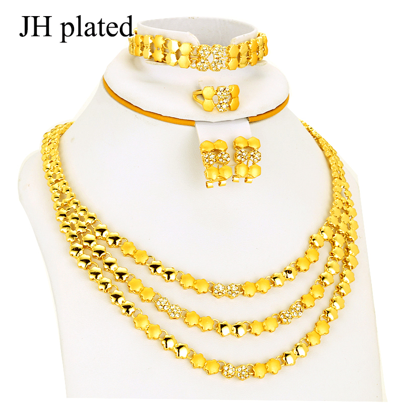 JHplated Dubai Jewelry sets Gold Color Necklace & Earrings Middle East Jewellery Egypt/Turkey/Iraq/Africa/Israe