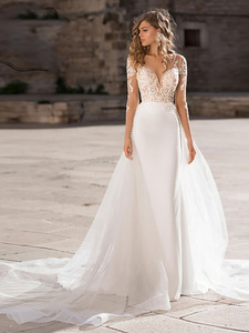 Image 4 - Verngo 2019 Boho Wedding Dress Elegant Lace Appliques Bridal Gown Custom Made wedding Dress New Design Mermaid
