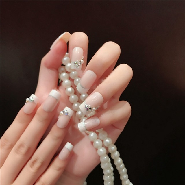 Online Shop Natural Light Pink White French False Nails Full Cover ...