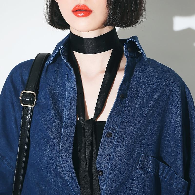 catwalk estilo negro vintage larga de la gasa bufanda flaco thin negro
