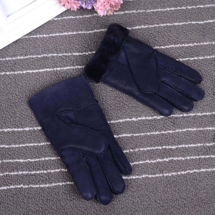 Зимние перчатки, детские перчатки с натуральным мехом для детей, толстые кожаные перчатки с кроличьим мехом, шерсть, Детские российские теплые перчатки с пятью пальцами - Цвет: navy blue
