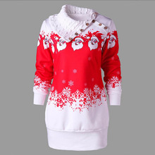 Christmas Pullover Women Clothing Causal Autumn Fashion Winter Hoody Long Sleeve Patchwork Women Hoodies Sweatshirts FY019