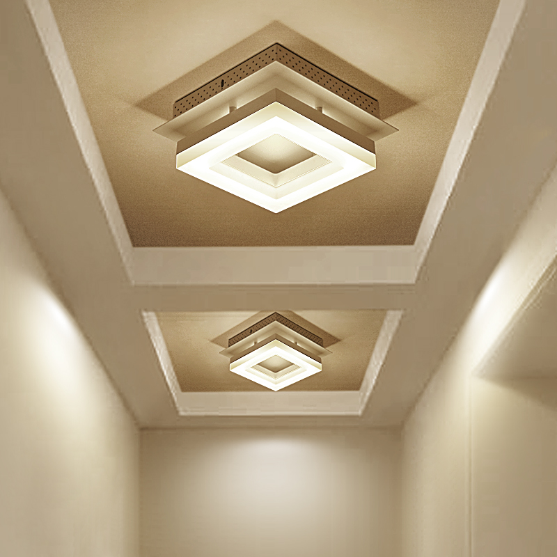 LED modern minimalist Ceiling Lights hallway lights balcony corridor lights Nordic creative square ceiling lamp LU62246 ZL399 simple style ceiling light wooden porch lamp square ceiling lamp modern single head decorative lamp for balcony corridor study